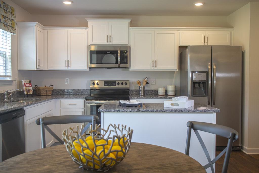 Kitchen inside model home at Ellington