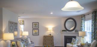 Living room in model home at Ellington