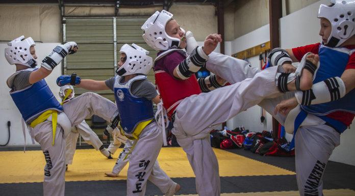 Students sparring at Master White's Taekwondo in Woodruff